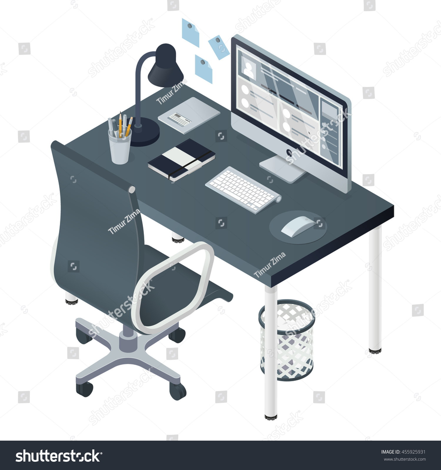 a vector of a modern isometric office interior table chair water cooler