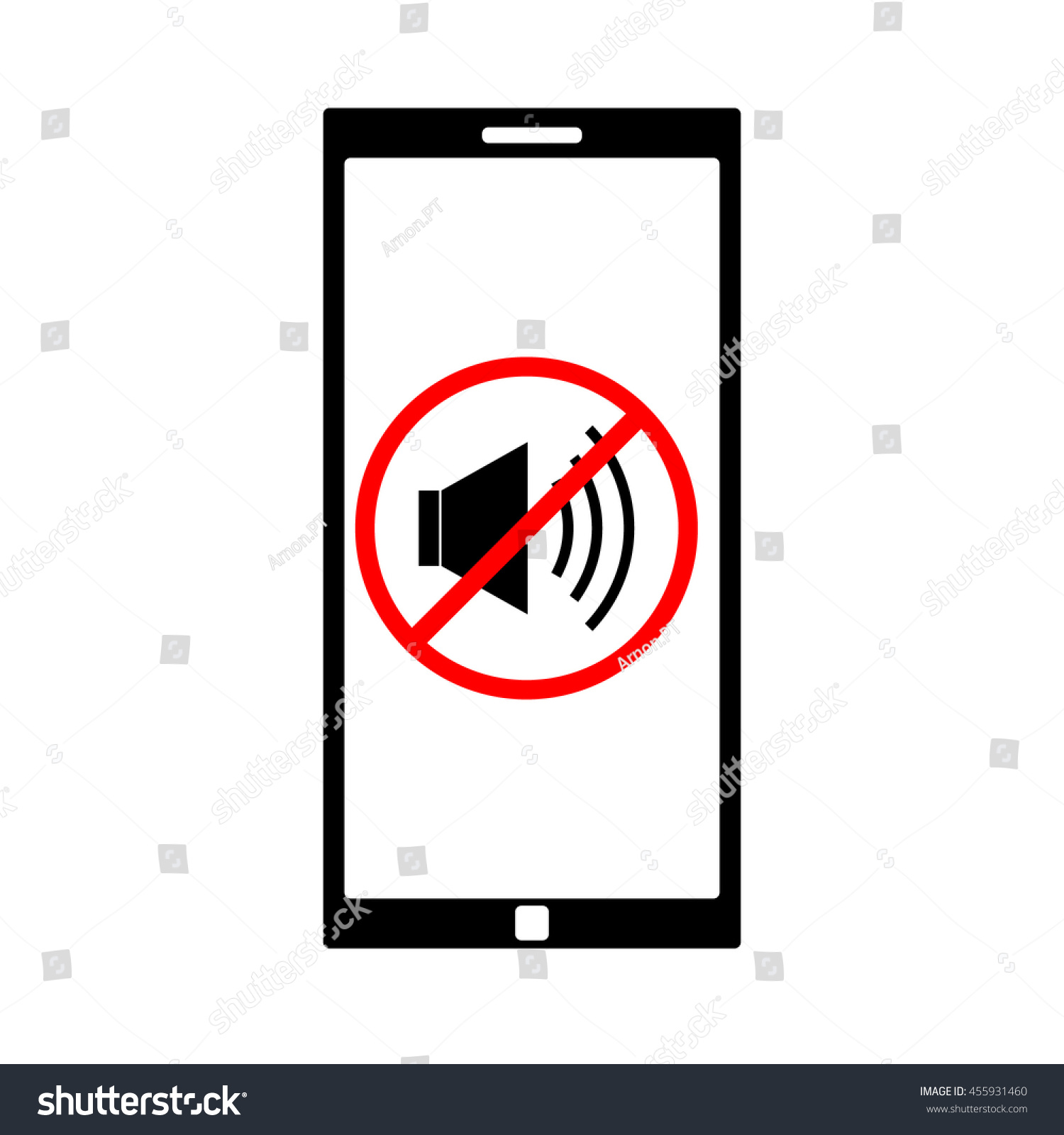 Mute Cell Phone Sign Symbol Stock Vector 455931460 - Shutterstock