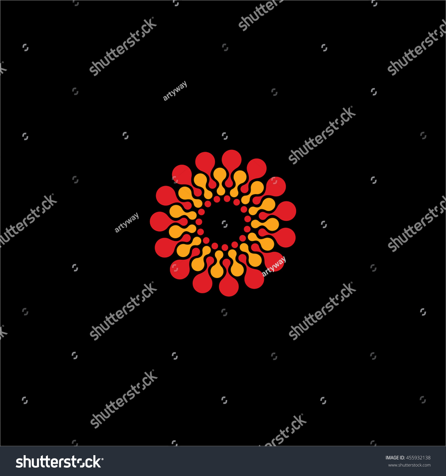 Isolated Abstract Red Yellow Color Flower Stock Vector Royalty Free