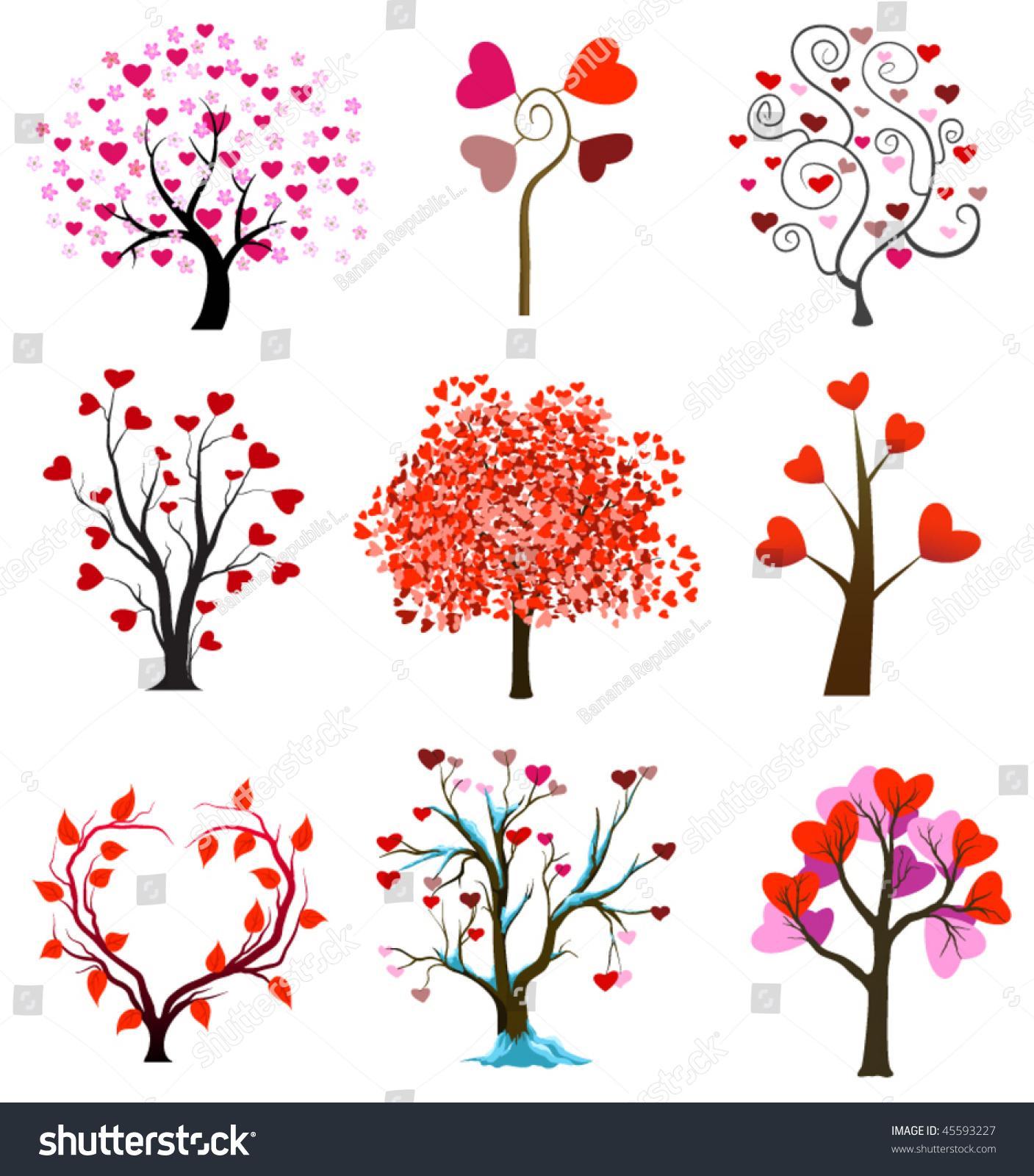 Wedding Tree Vector: Tree Love Vector Wedding Icons Stock Vector 45593227