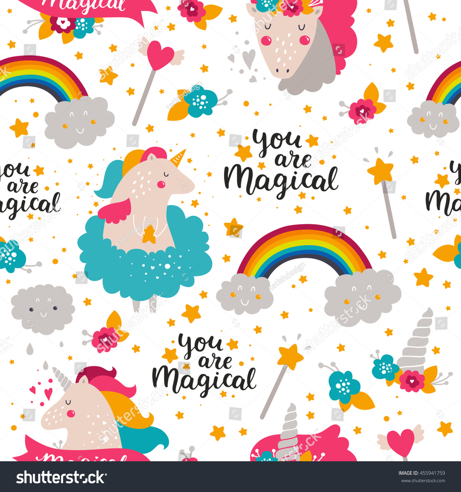 Background Baby Unicorn Kids Pattern Design Stock Illustration