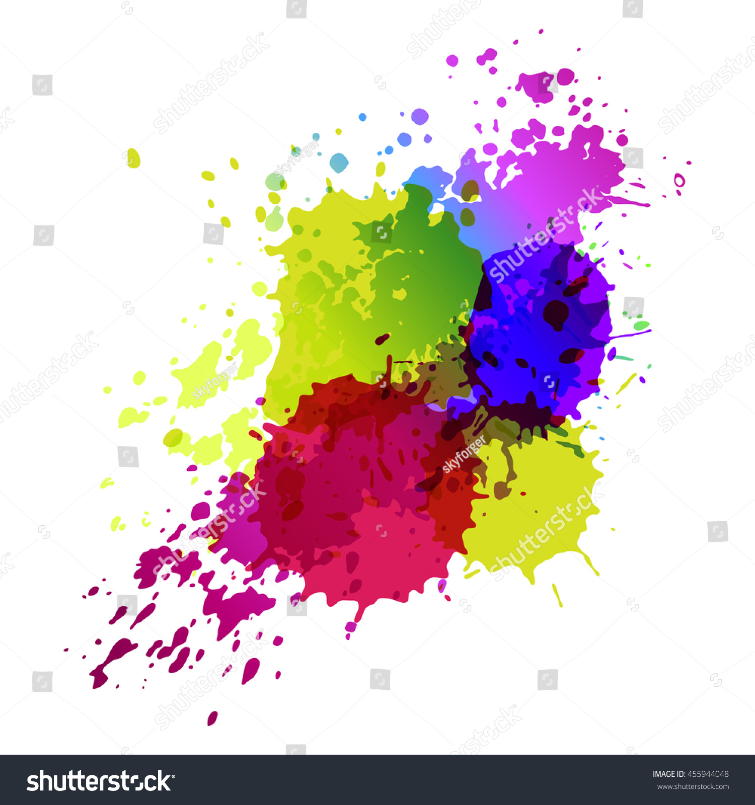 Cymk Puzzle Vector Color Splash Paint On White Stock Vector 455944048
