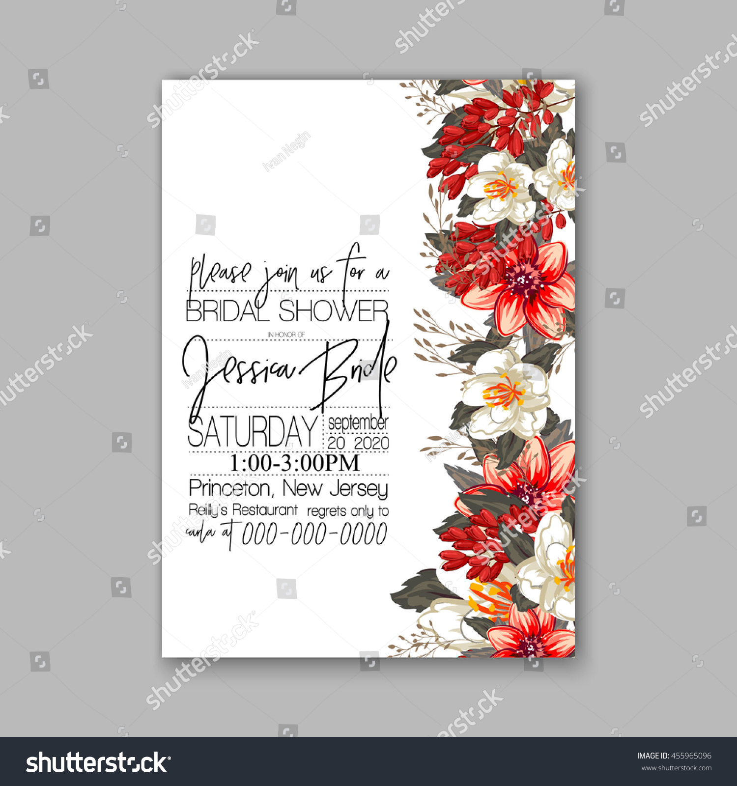 Wedding Invitation Abstract Floral Background Stock Vector 455965096 ...