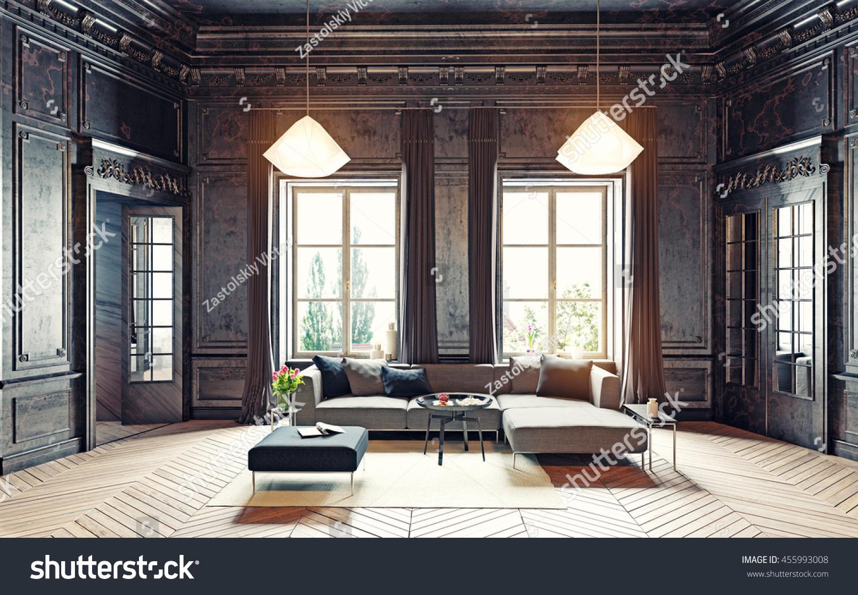 Modern Style Black Living Room Apartment Stock Illustration ...
