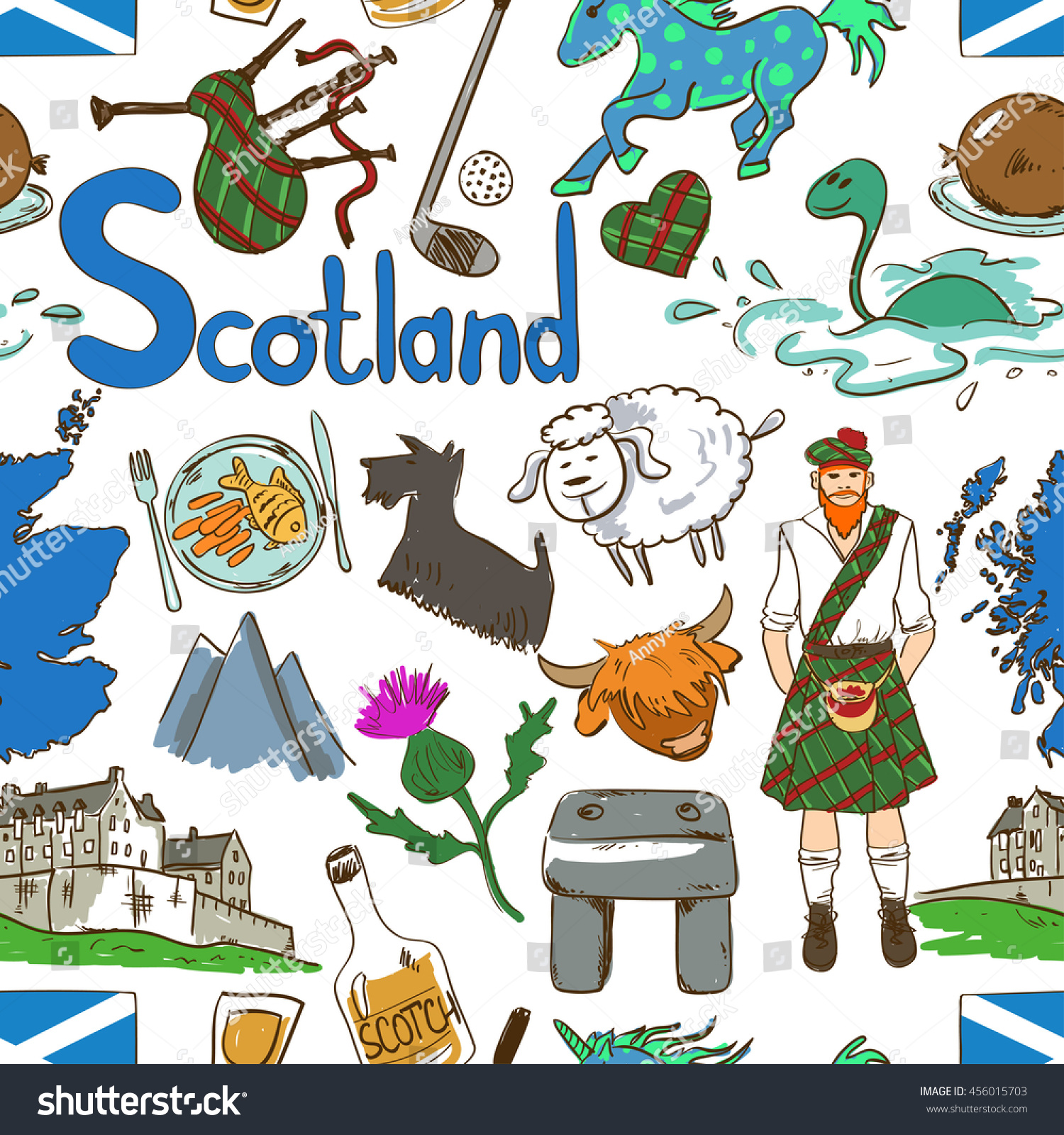 Fun colorful sketch scottish seamless pattern stock vector 456015703 fun colorful sketch scottish seamless pattern on a white background travel concept of scotland symbols buycottarizona Image collections