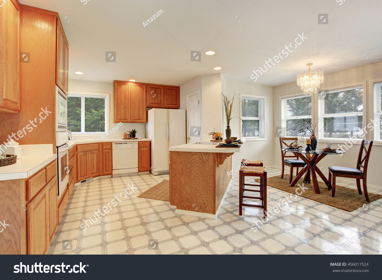 kitchen room interior brown cabinets tile stock photo 456017524 shutterstock. Black Bedroom Furniture Sets. Home Design Ideas