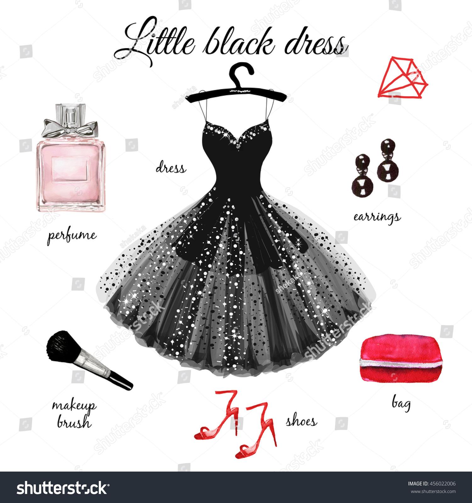 Beautiful Black Dress Accessories Hand Drawn Stock Illustration ...