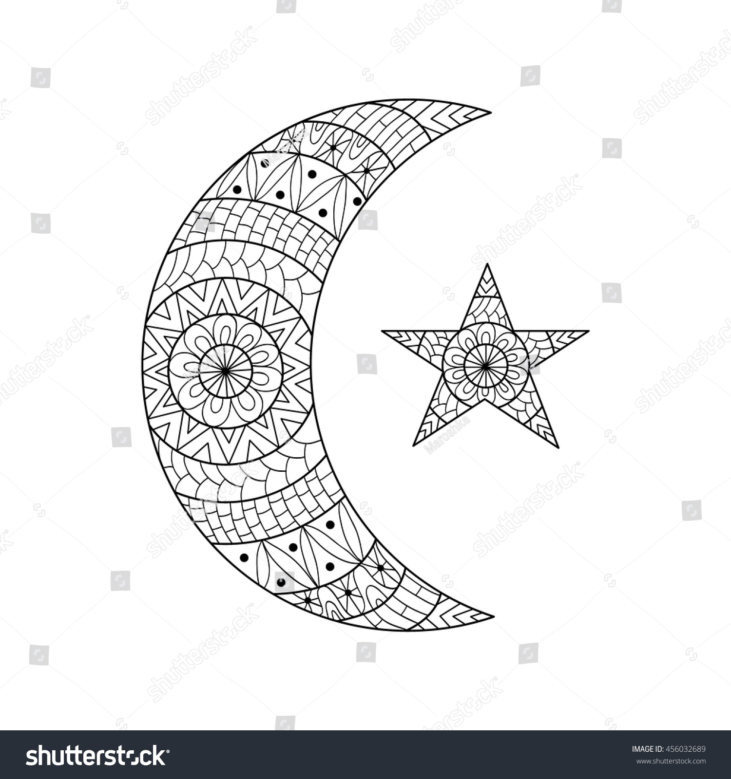 hand drawn new moon star anti stock vector 456032689 shutterstock