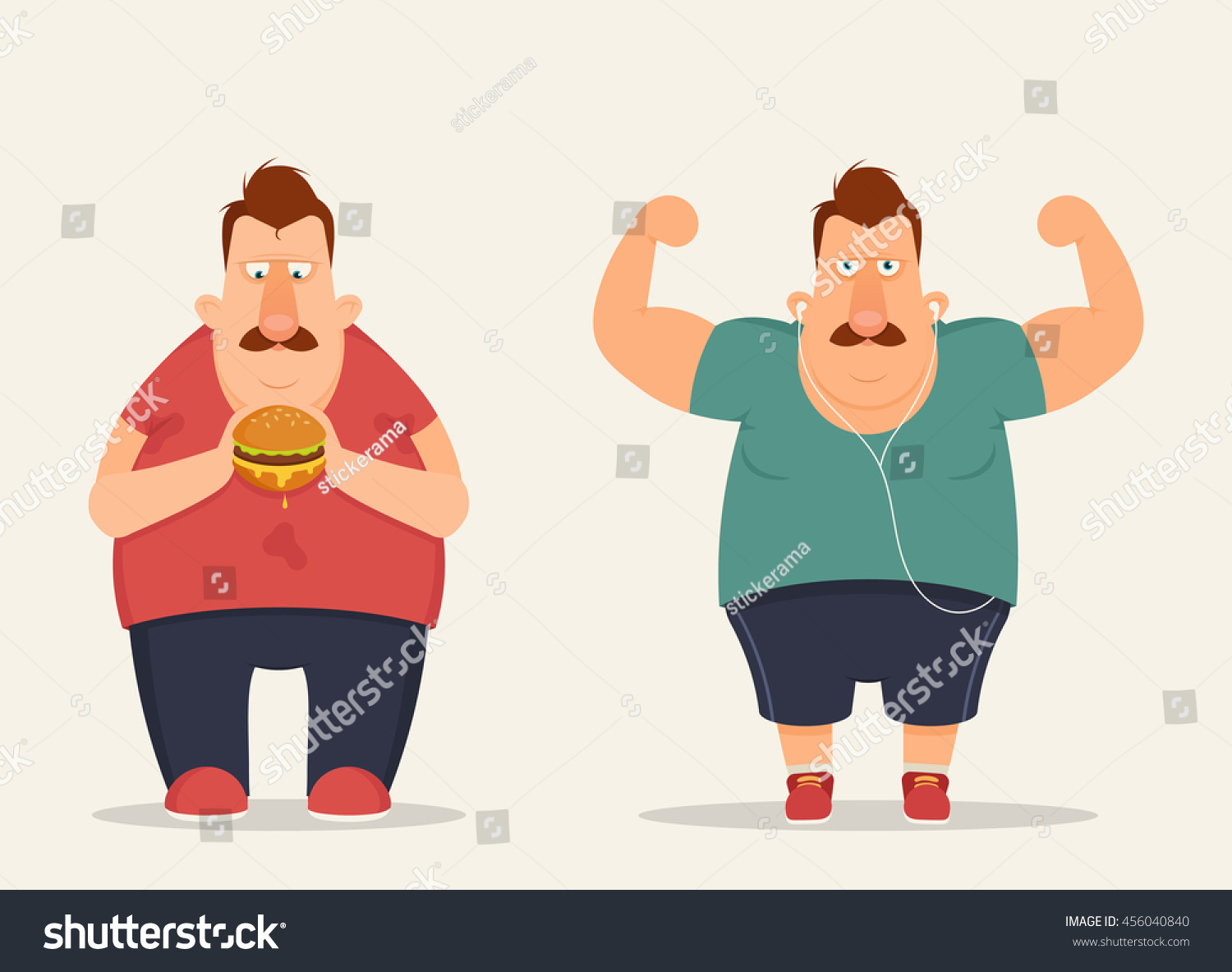 funny cartoon character eating burger doing stock vector