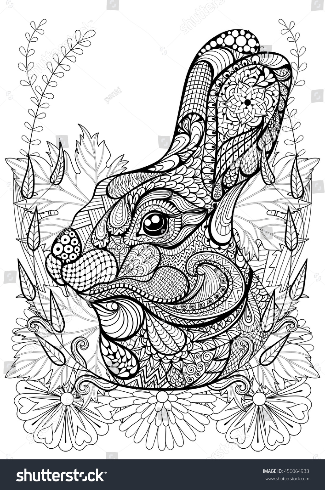 zentangle stylized rabbit with flowers hand drawn ethnic animal for adult coloring pages art