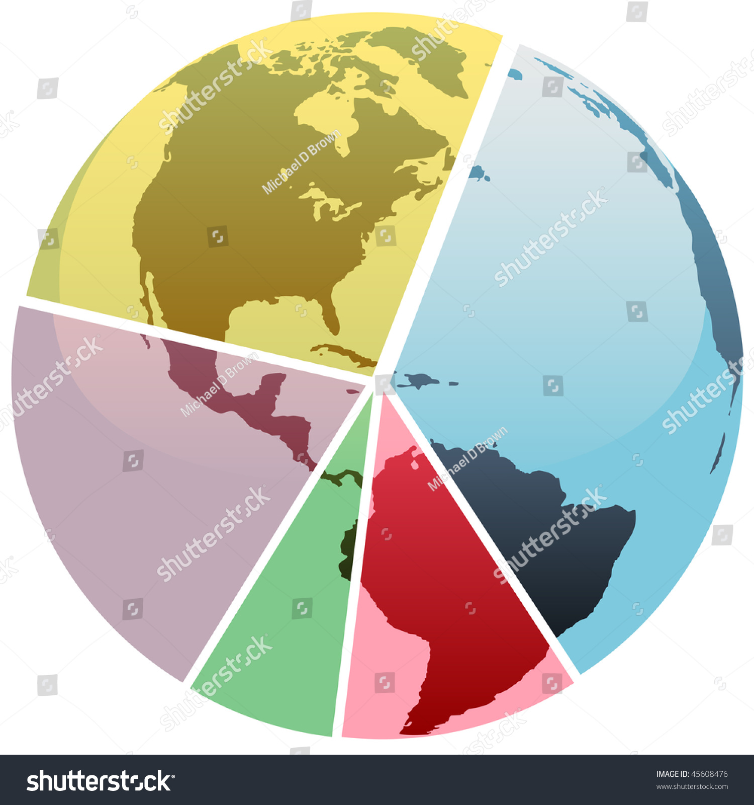 Earth Graph Divided Into Financial Economics Stock Vector Royalty