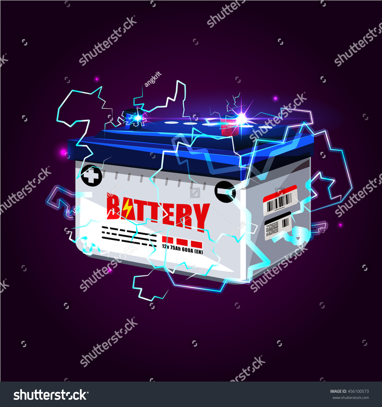 car battery electric sparks lighting effect stock vector