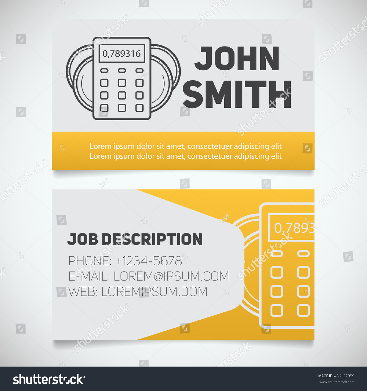 business card print template calculator coins stock vector