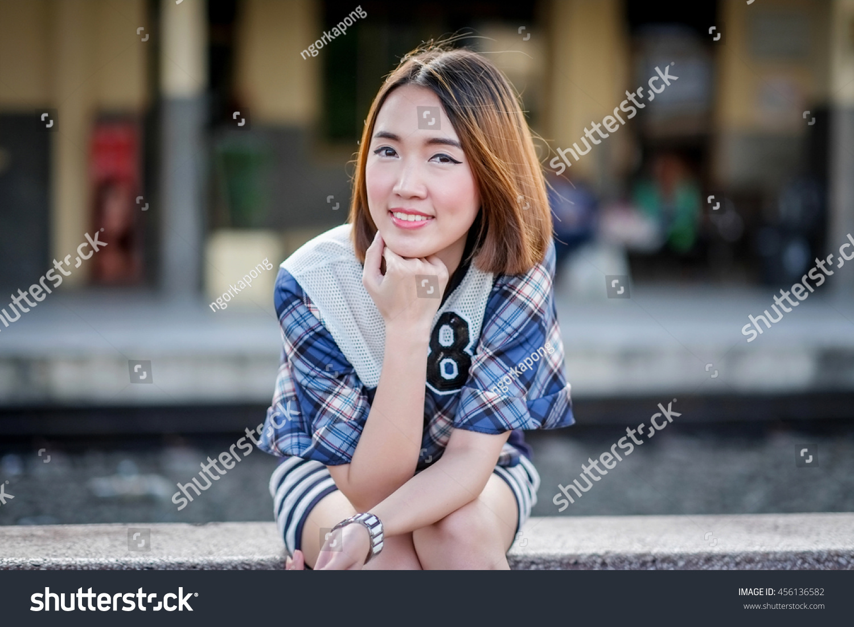 Portrait Smile Asian Girl Short Hair Stock Photo Image Royalty