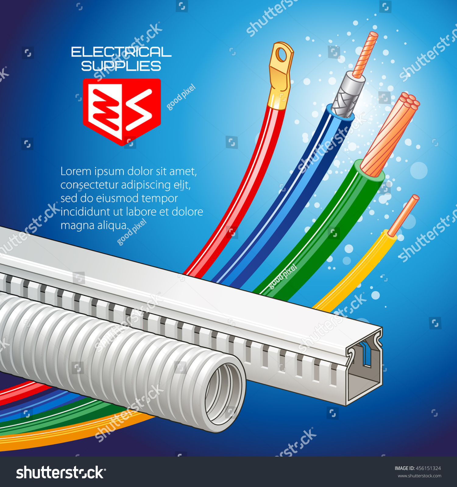 Electrical supplies, multicolored wires, cable, cable-channel. Vector  illustration.