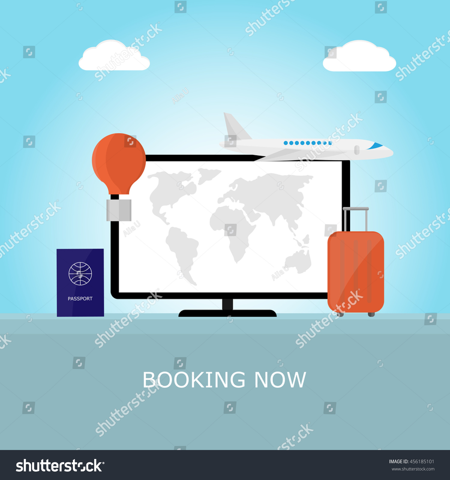 Monitor World Map On Screen Suitcase Stock Vector (Royalty