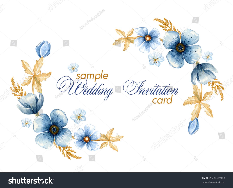 Template Wedding Invitation Card Watercolor Indigo Stock ...