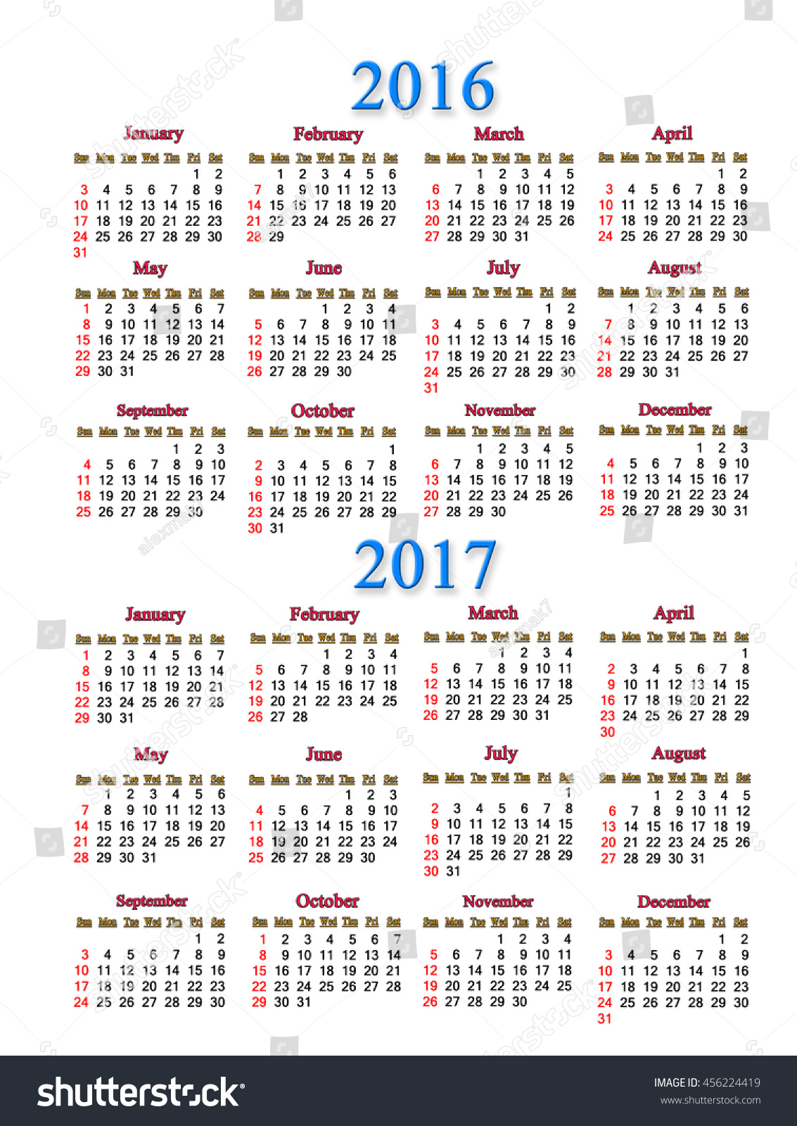 Office Calendar 2016 : Office calendar  years on stock illustration