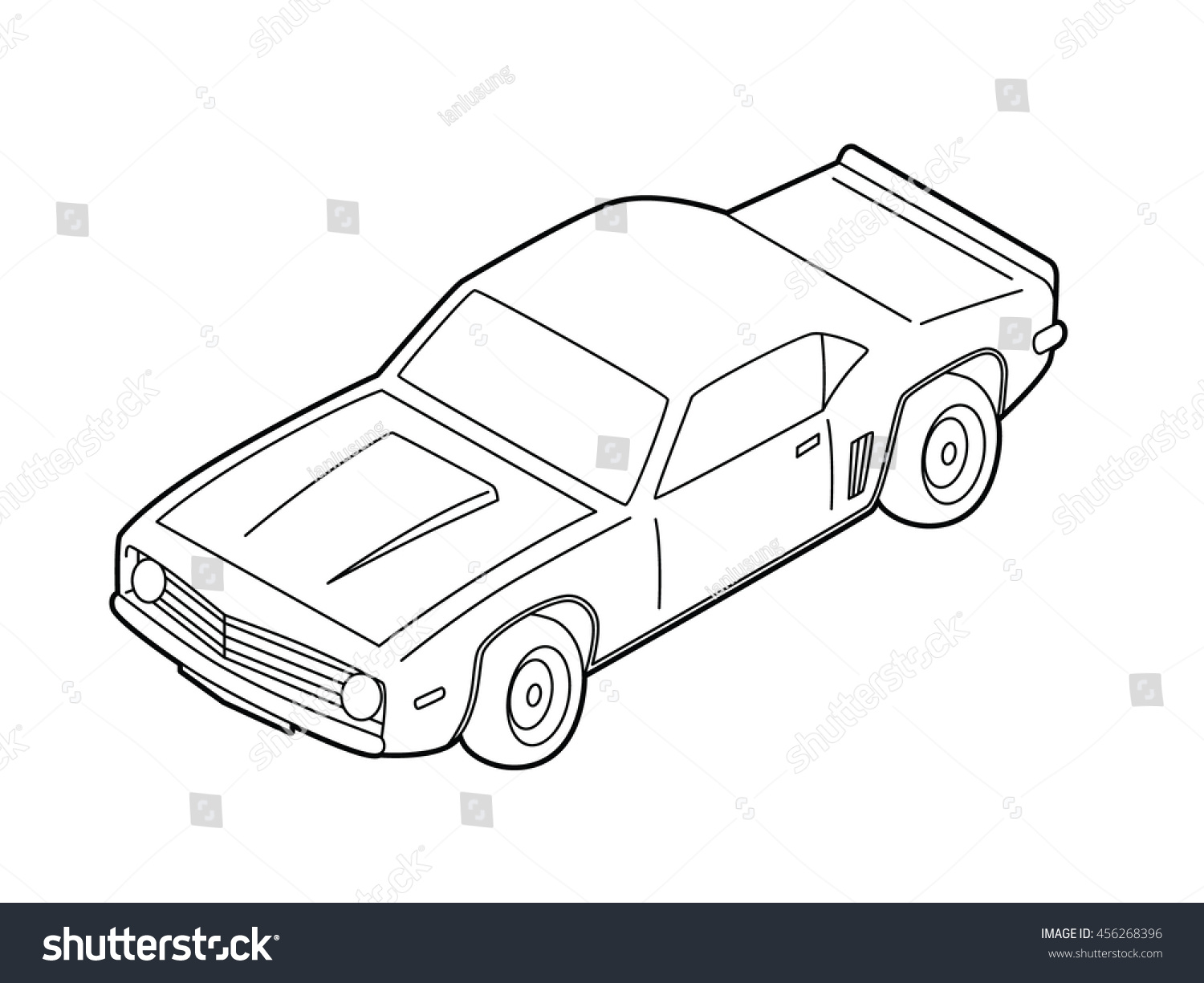 Isometric Muscle Car Line Art Vector Stock Vector Royalty Free