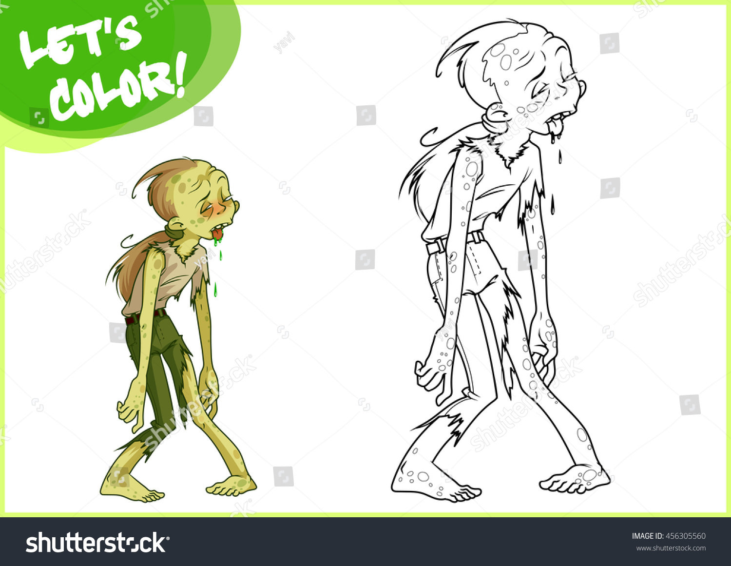 Funny Green Zombie Page For Coloring Book Vector Illustration Isolated On A White Background