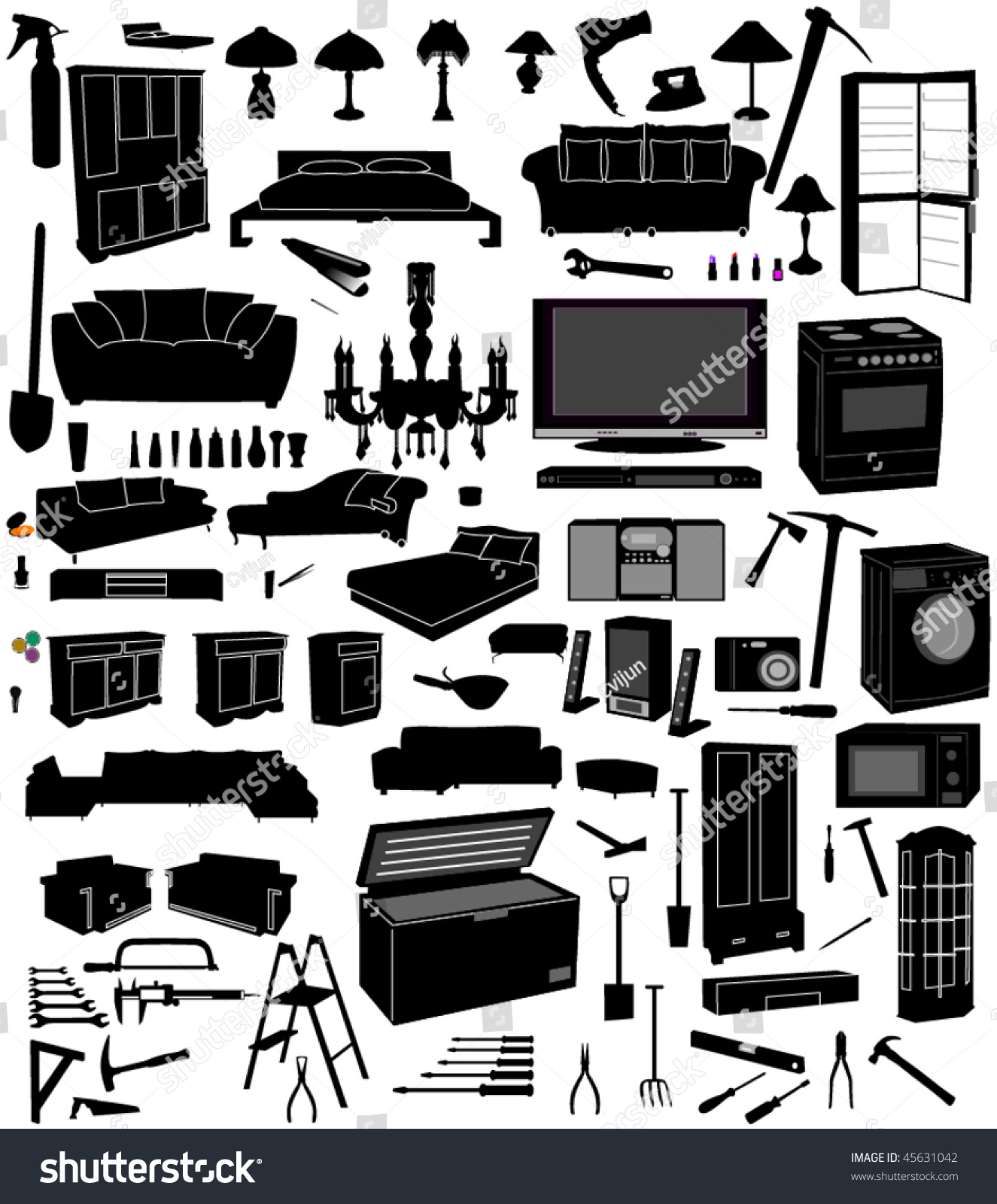 Miscellaneous household furnituretoolsmakeup stock vector 45631042 shutterstock - Household tools ...