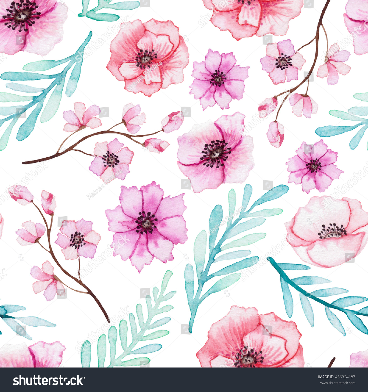 Watercolor Red And Pink Flowers And Blue Leaves Seamless Pattern
