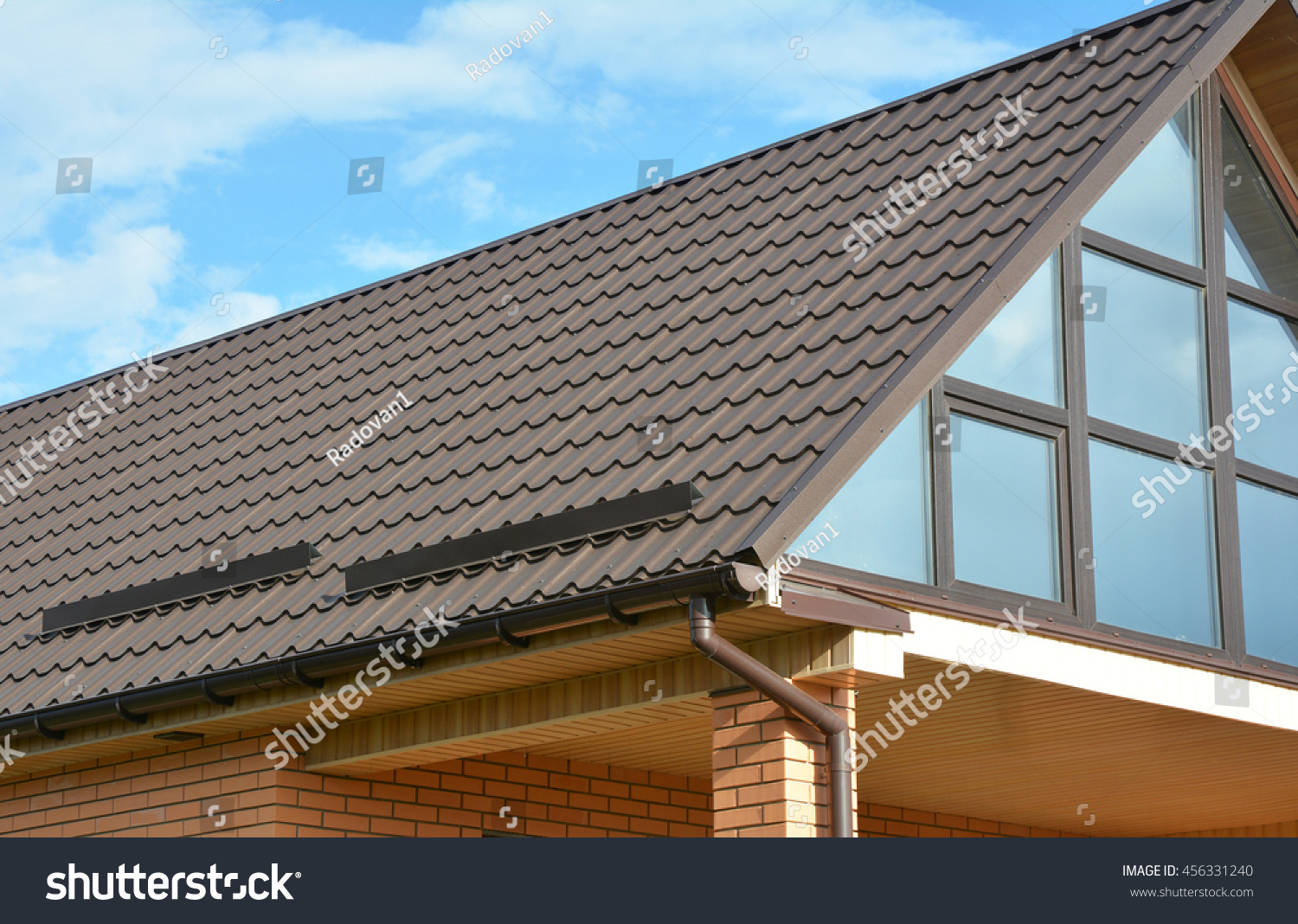 Building Modern House Construction Metal Roof Stock Photo