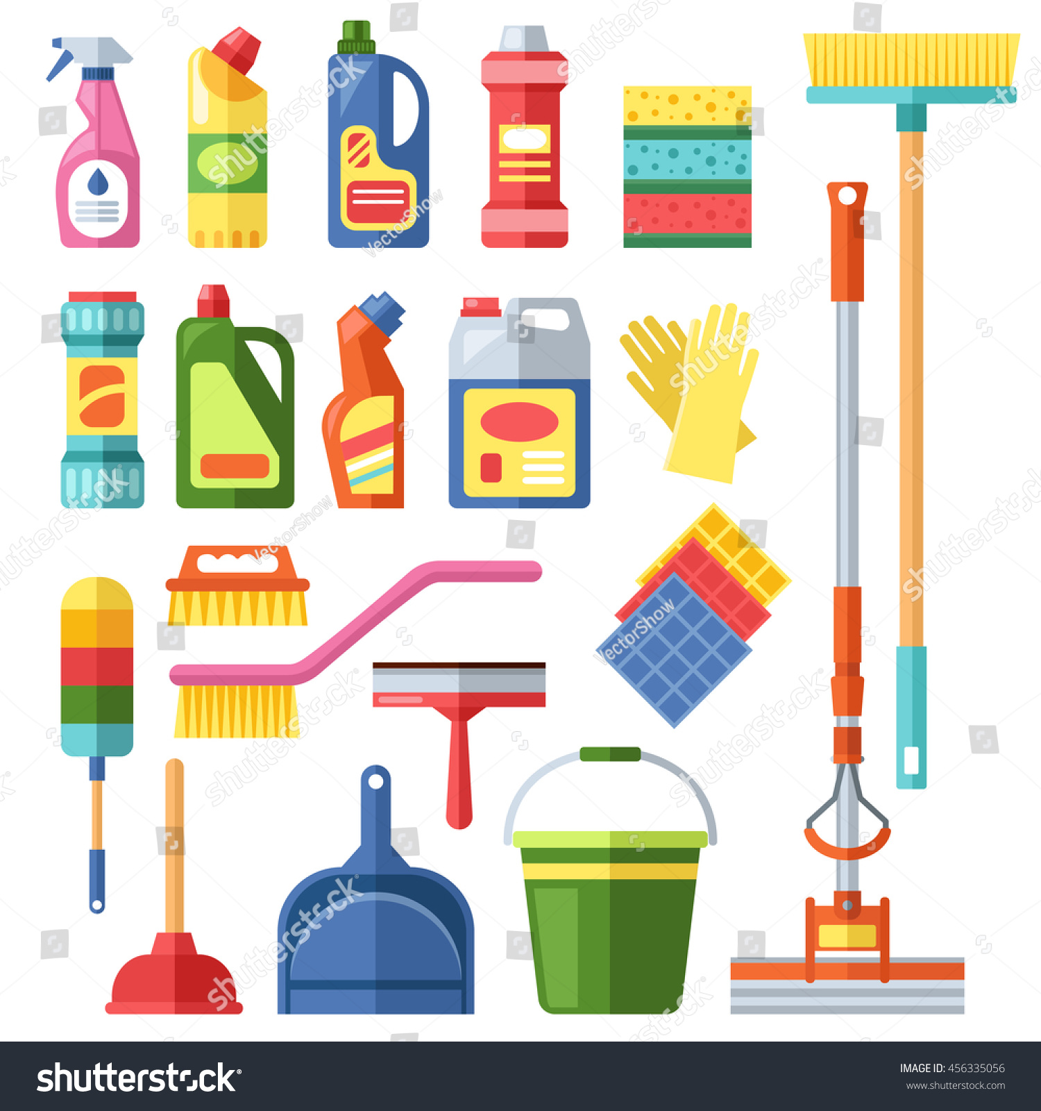 House cleaning tools cleaning products flat stock vector for House cleaning stock photos