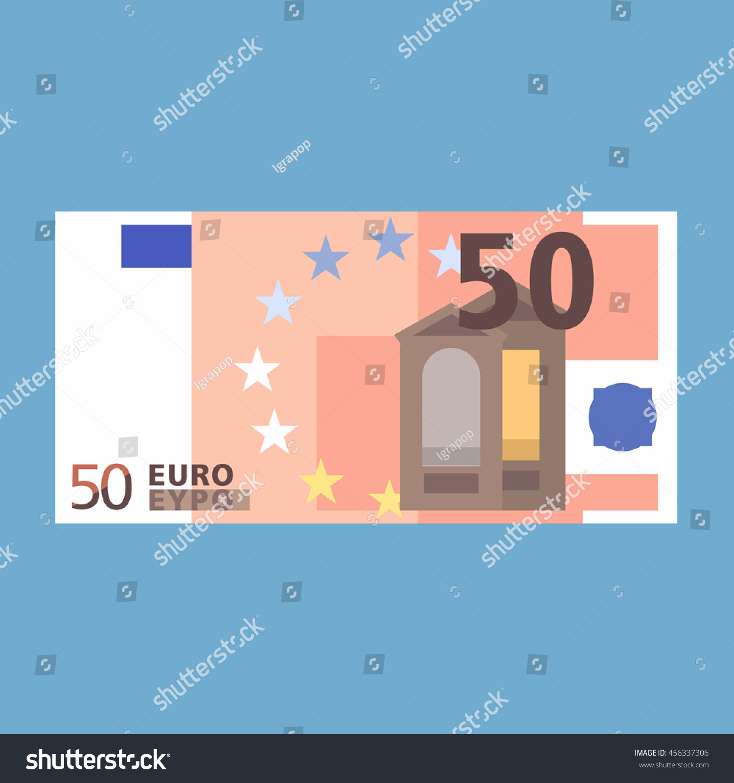 50 Euro Banknote Simple Flat Style Stock Vector Royalty Free