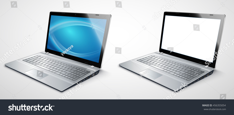 realistic modern laptop template presentations vector stock vector