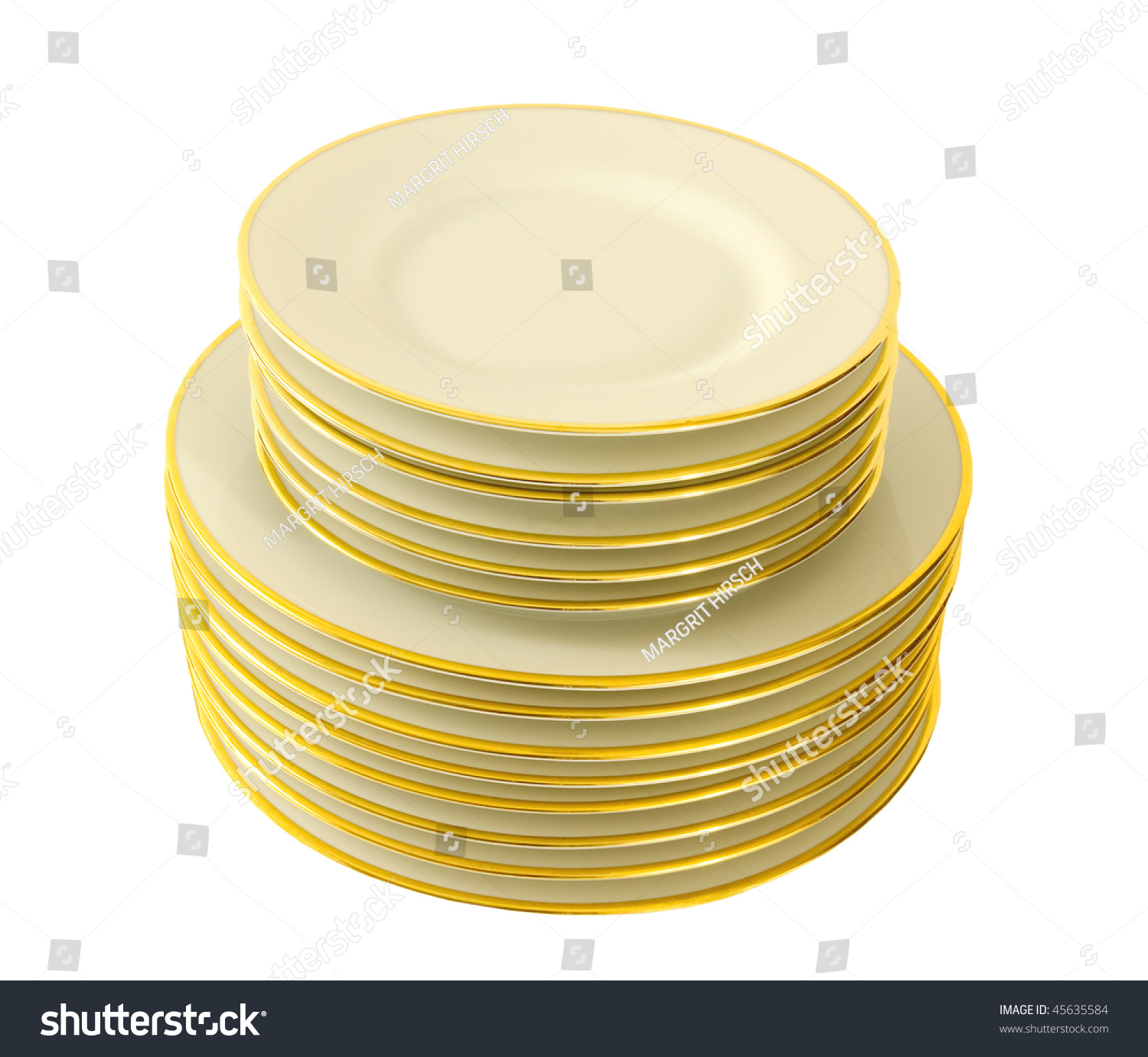 pile of white dinner plates with gold rim stock photo. Black Bedroom Furniture Sets. Home Design Ideas