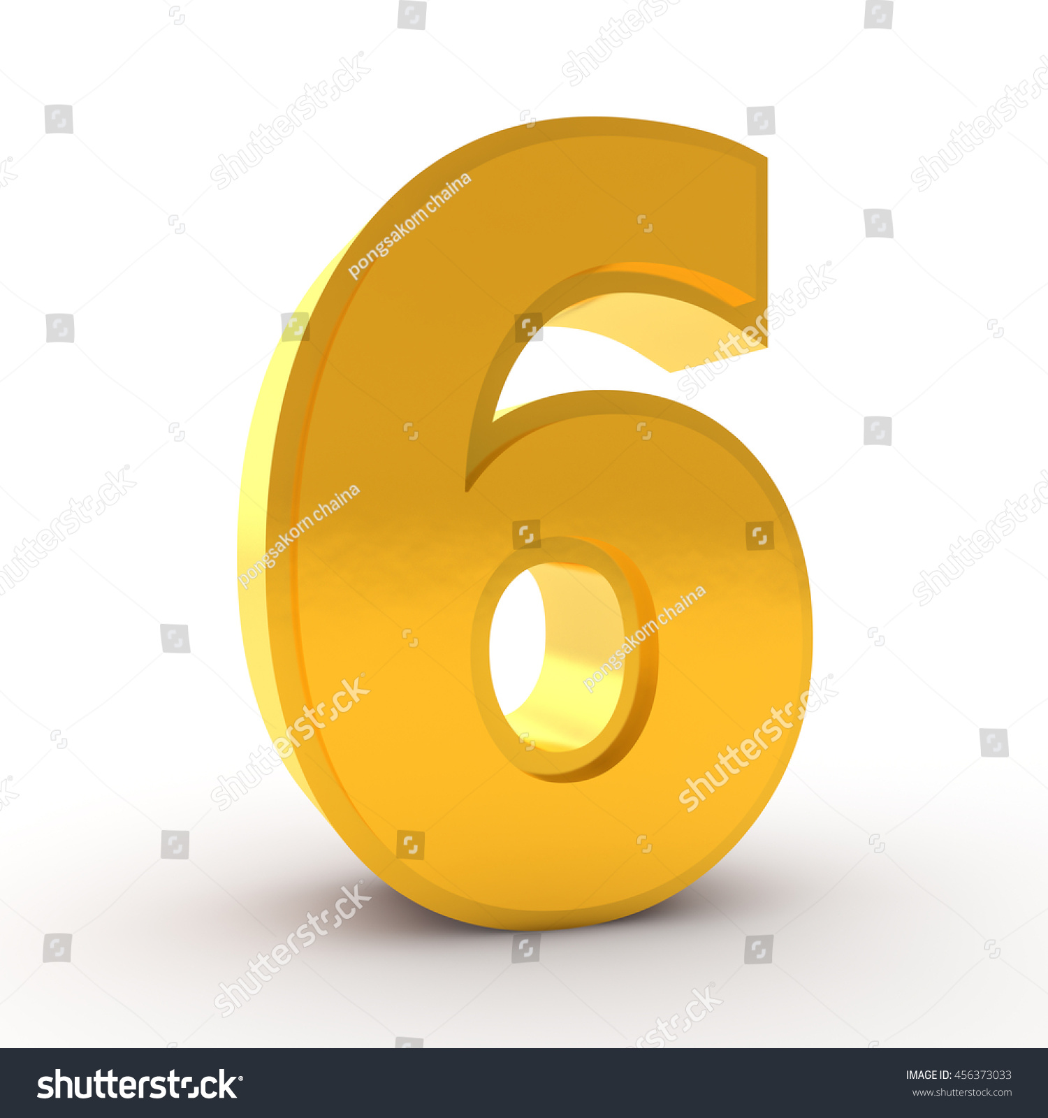 Number 6 Gold Color Collection On Stock Illustration ...