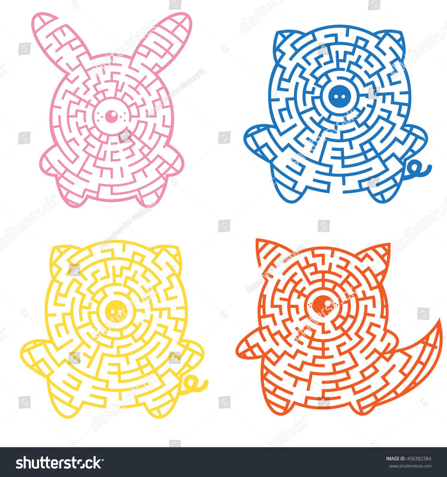 Set Mazes Game Kids Animals Shape Stock Vector (Royalty Free) 456382384