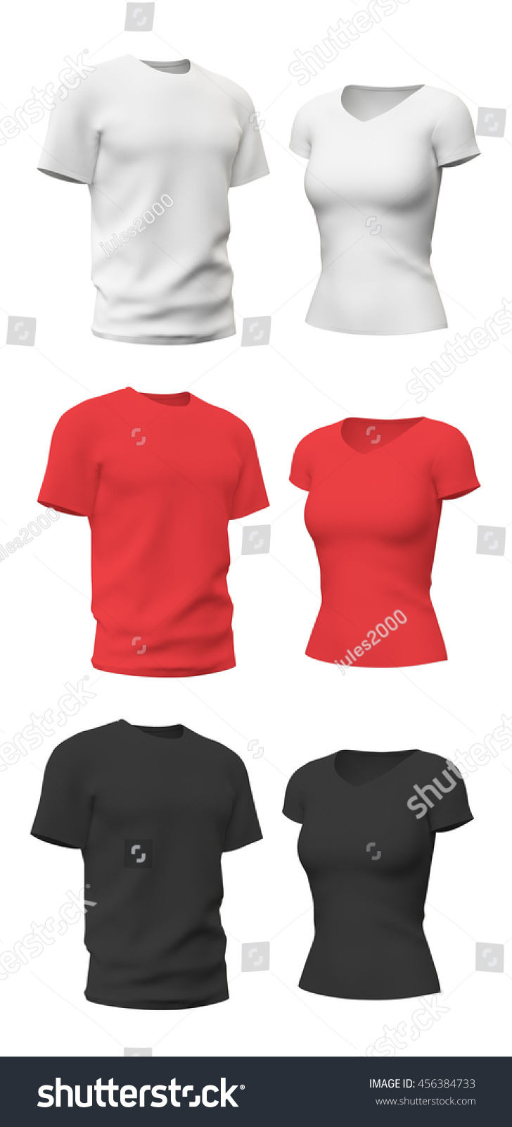 Tshirt Template Isolated On White 3 D Stock Illustration Royalty
