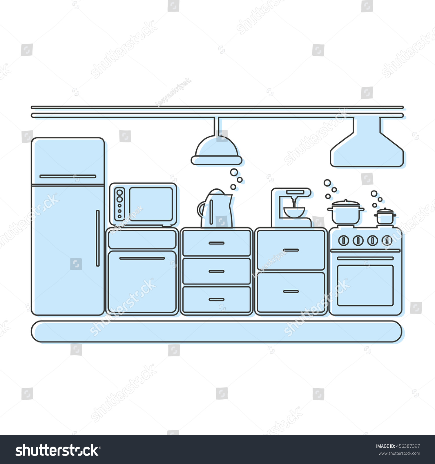 Interior kitchen room in blue. Flat vector illustration. | EZ Canvas