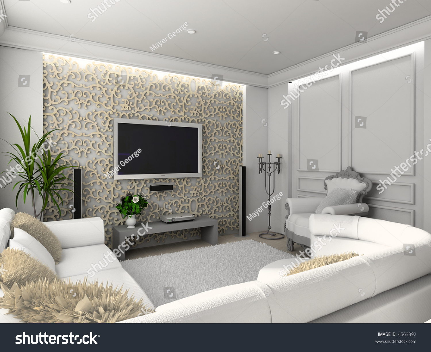 Classic living room with tv - Living Room With The Classic Furniture 3d Render Interior With Tv Set