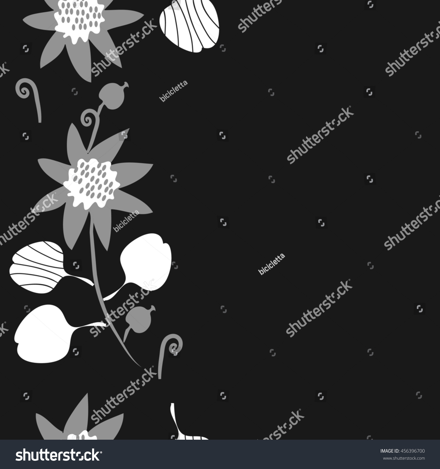 Seamless vertical pattern of floral motif doodles flowers leaves spot hole spiral branch object Hand drawn