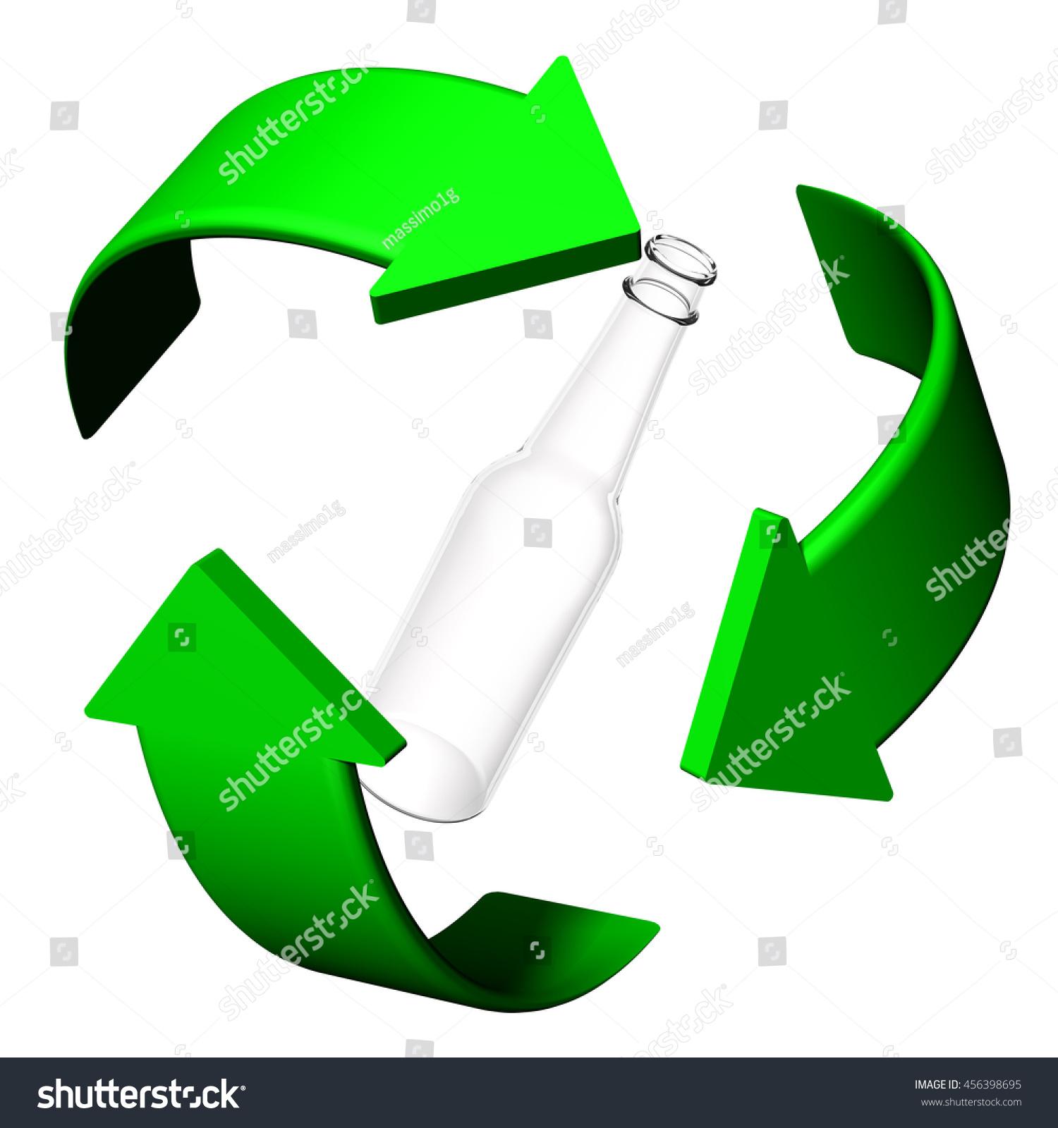 3 D Illustration Bottles Glass Recycling Symbol Stock Illustration