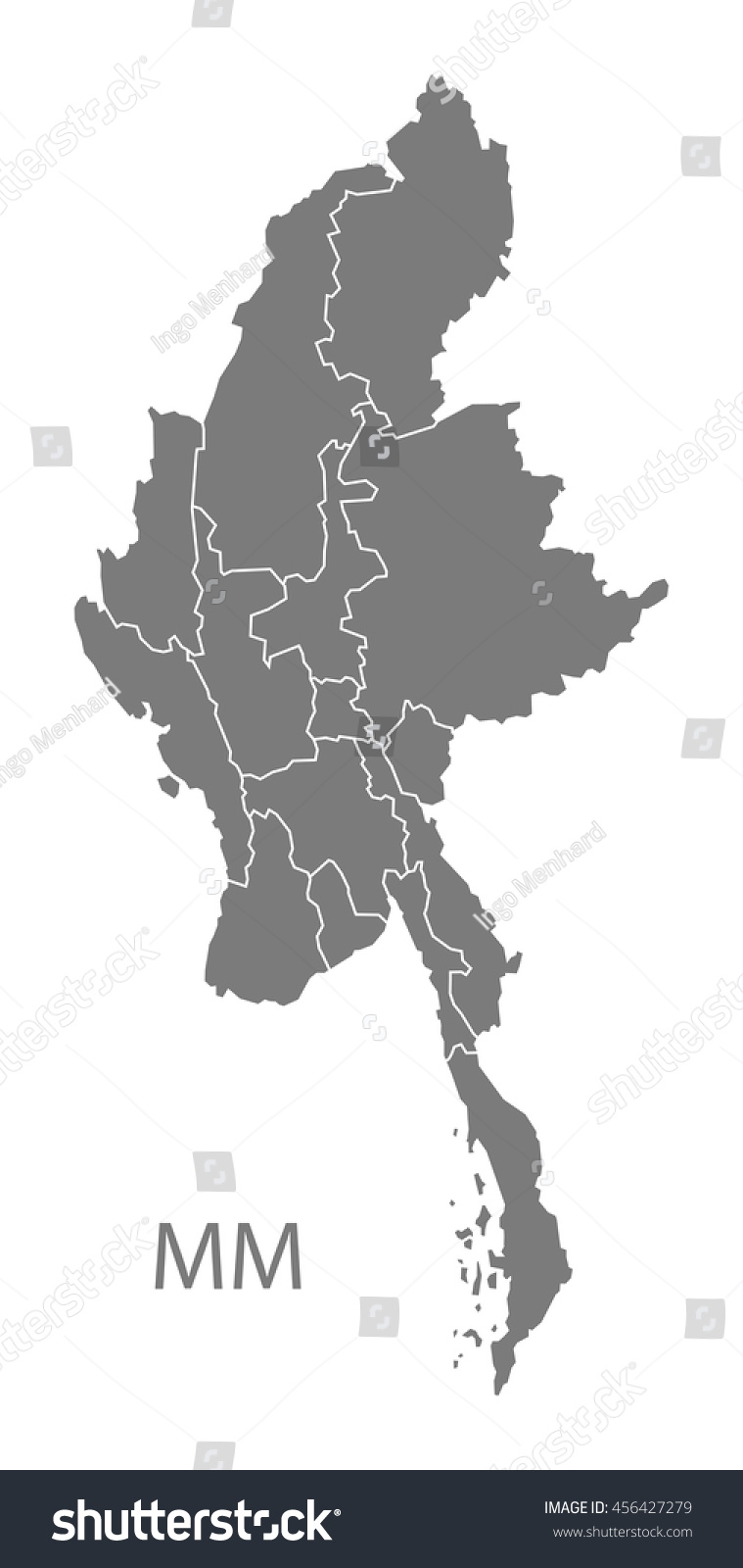 Vector States Map.Myanmar States Map Grey Stock Vector Royalty Free 456427279