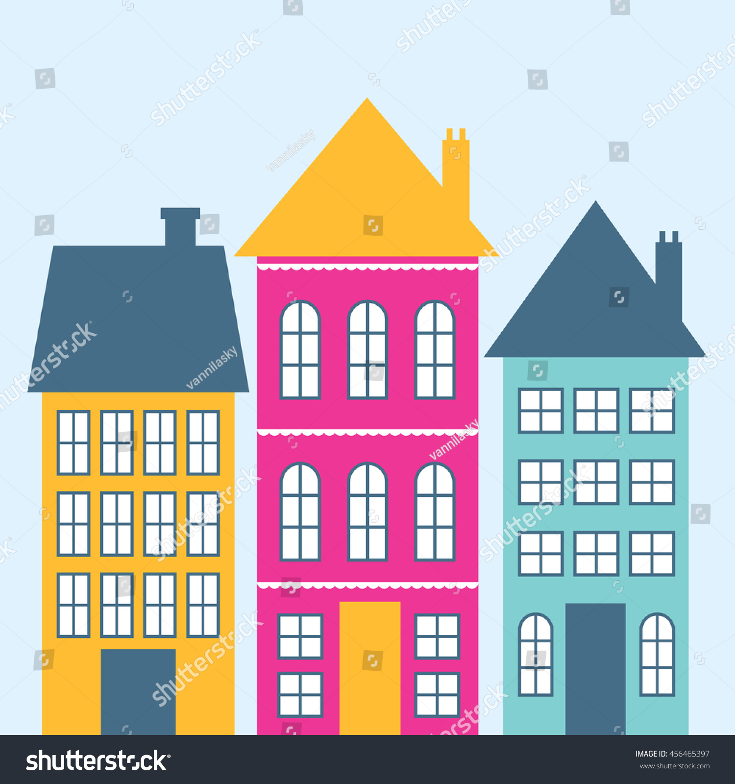 Colorful Cute Houses Perfect Background Stock Vector (Royalty Free ...