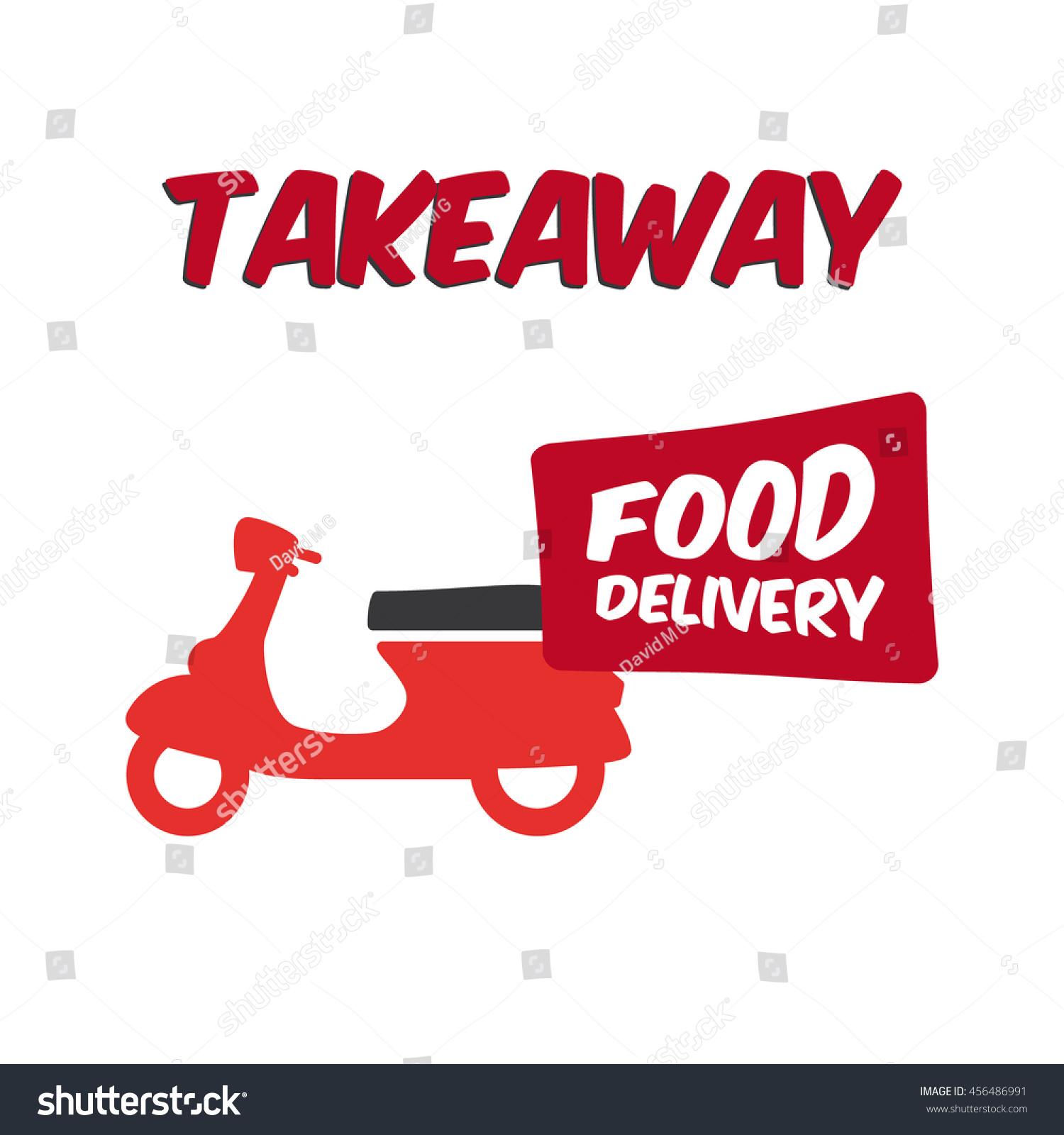 Takeaway food delivery. Motorbike logo. #456486991