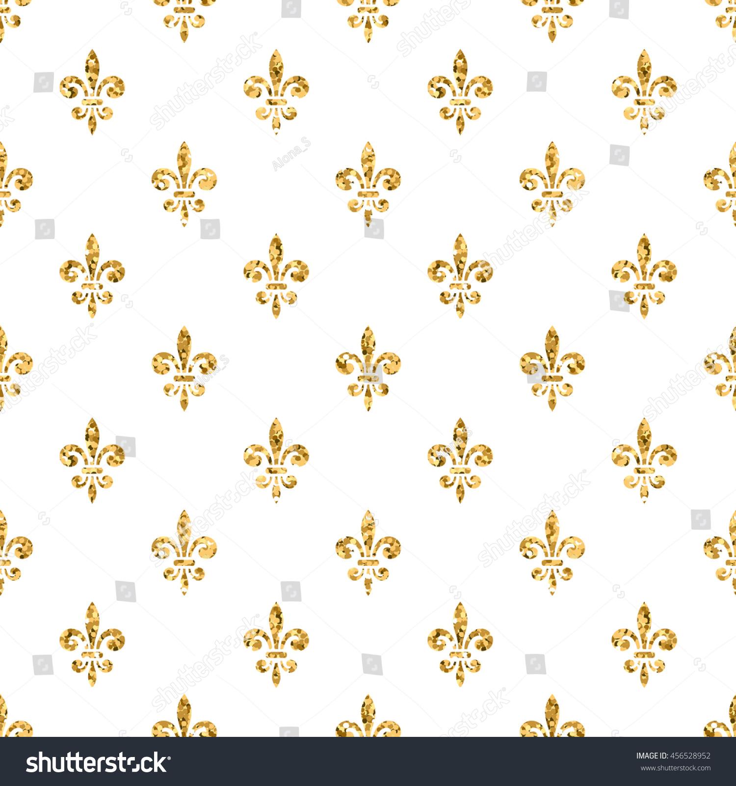 golden fleurdelis seamless pattern gold glitter stock illustration