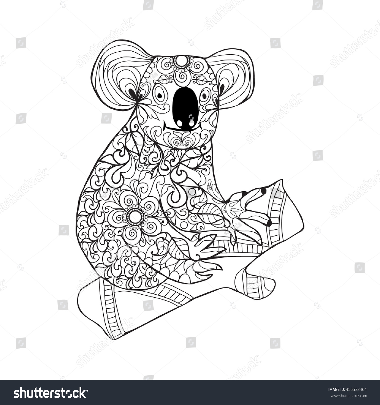 Zentangle Style Koala Black White Hand Drawn Doodle Animal For Coloring Page Shirt Design