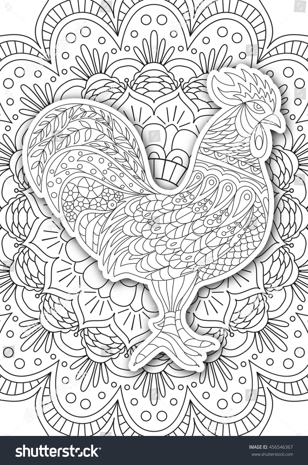 coloring pages for older adults - printable coloring book page adults rooster stock vector