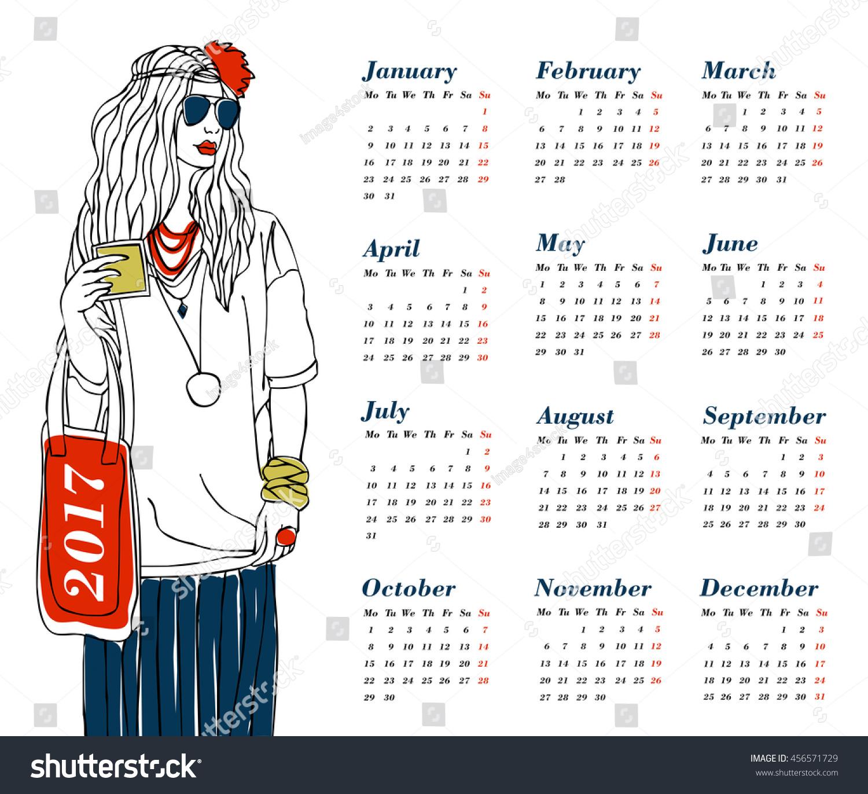 Fashion Illustration Calendar : Fashion illustration girl calendar vector stock