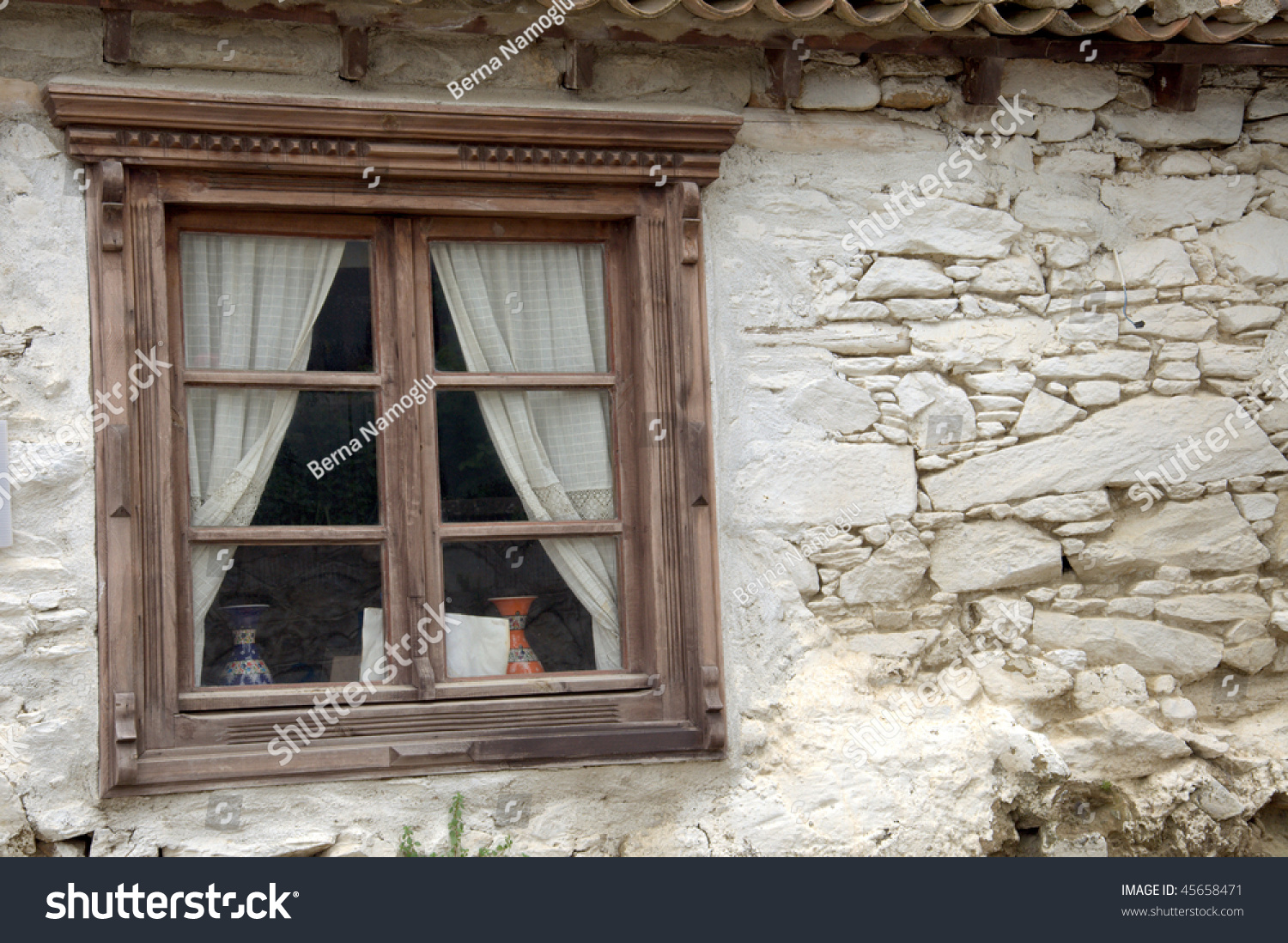 Old Square Wooden Window Stone Rendered Stock Photo 45658471