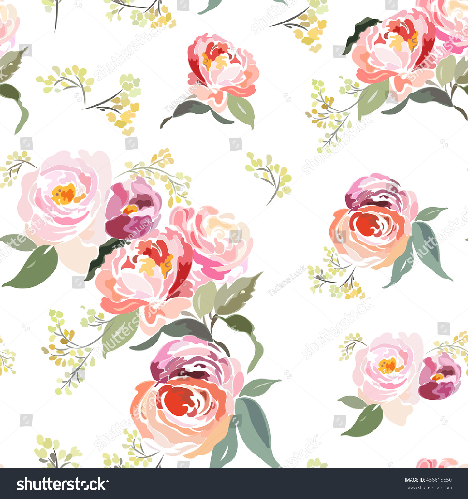 Seamless floral pattern with roses on a white background