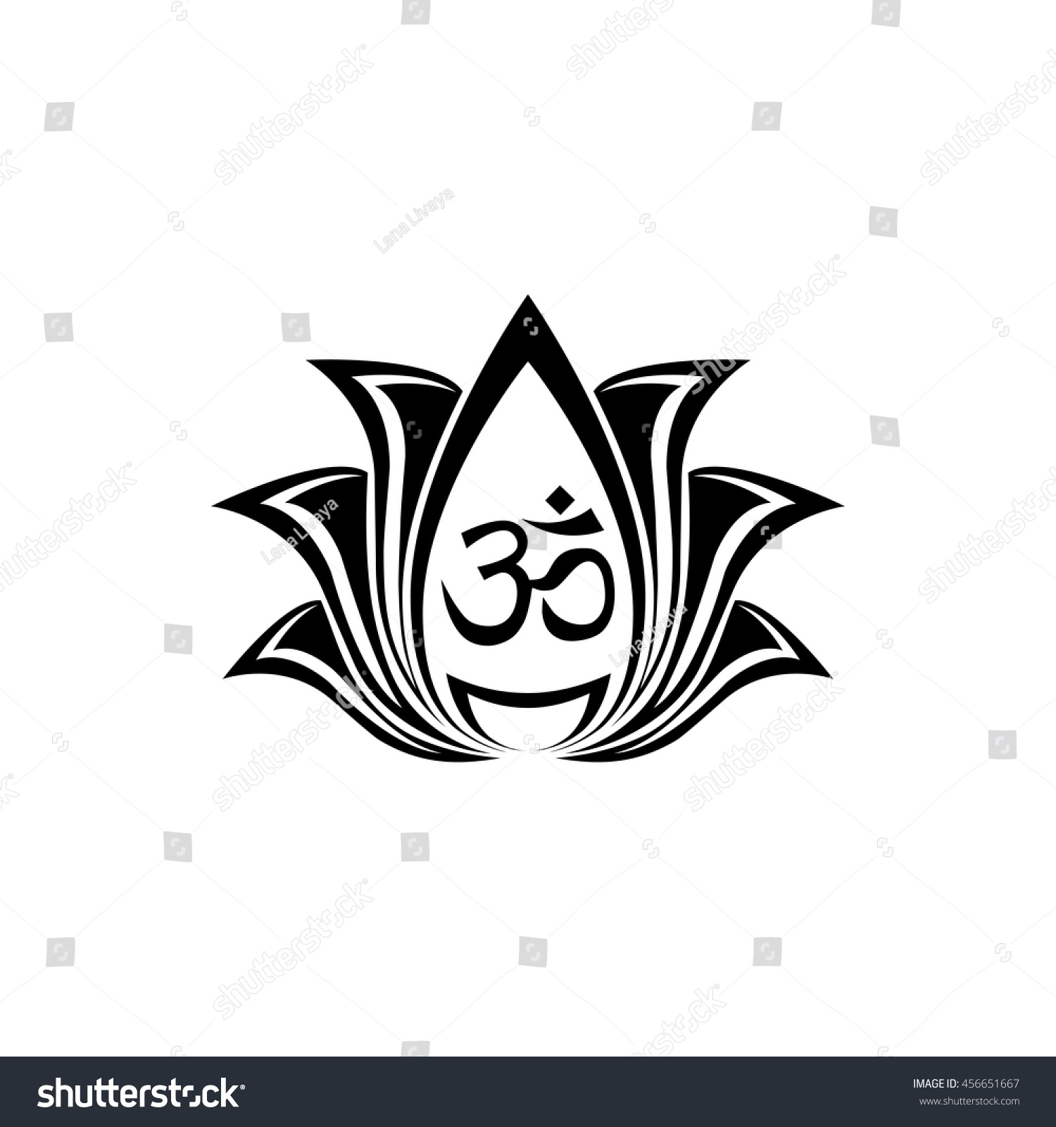 Abstract Vector Lotus Flower Silhouette Design Stock Vector Royalty