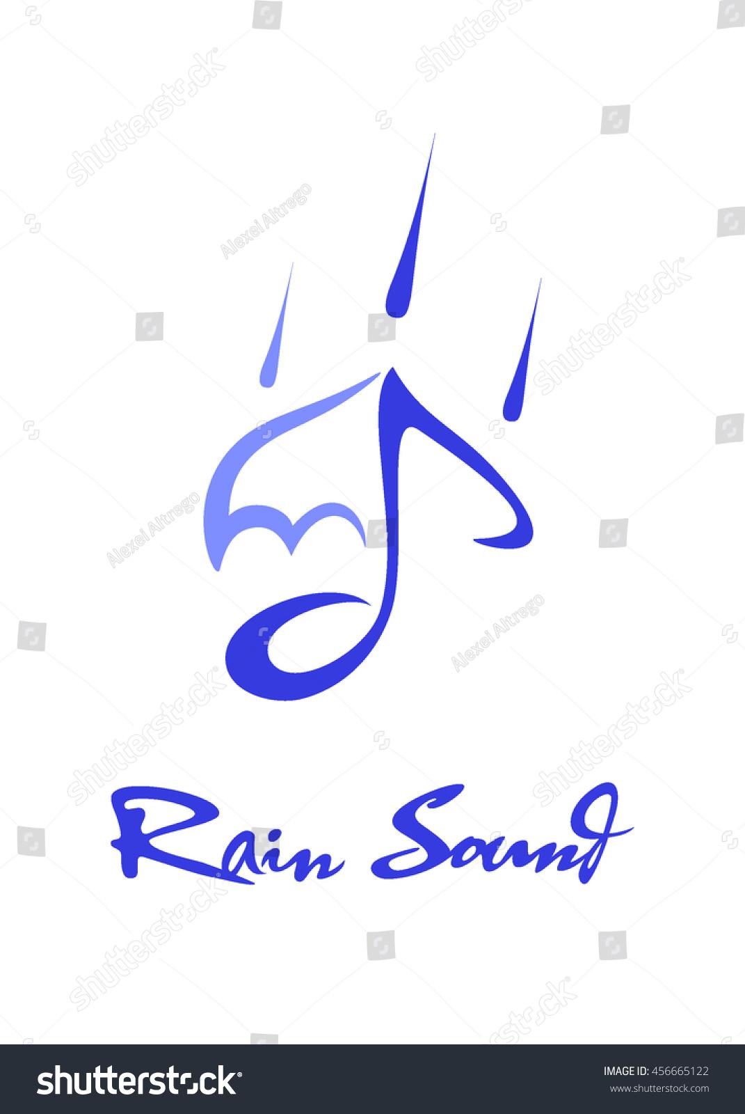 2 D Abstract Rain Music Note Symbols Stock Vector Royalty Free