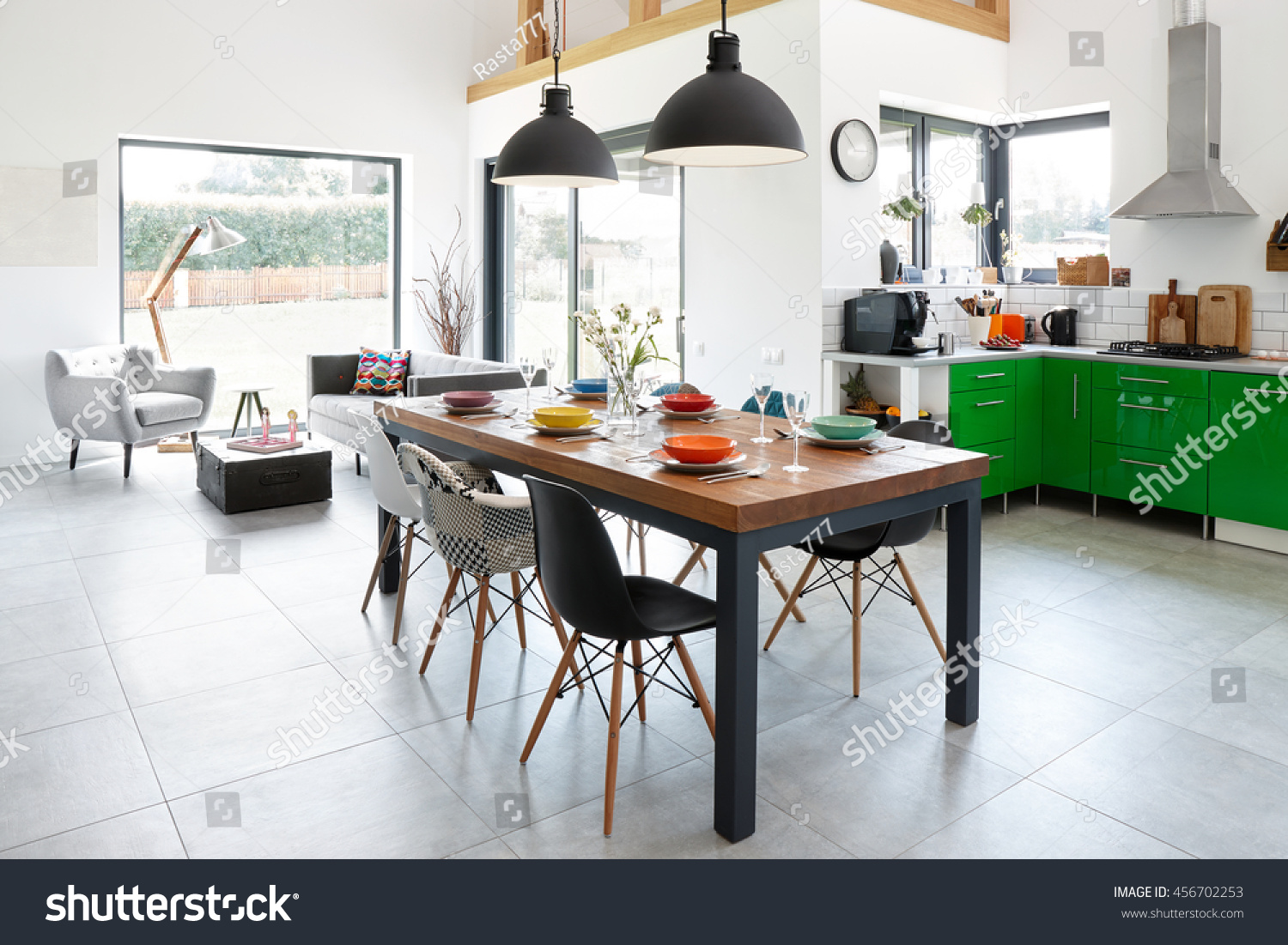 Modern dining room dining table scandinavian stock photo edit now
